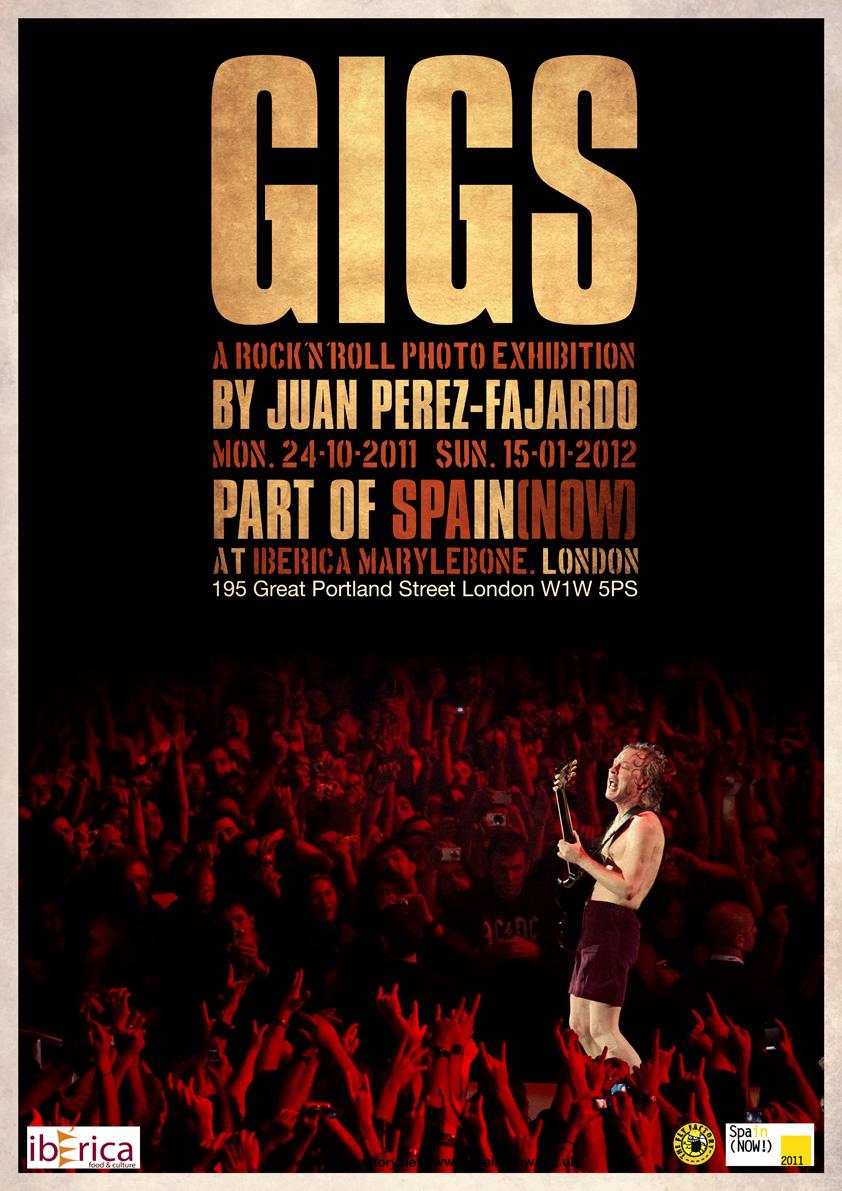 Expo individual Juan Pérez-Fajardo poster GIGS (A Rock'n'Roll Exhibition)